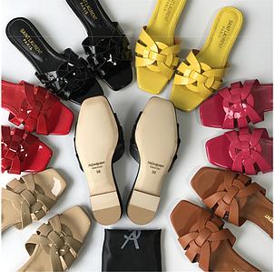 Летние женские шлепки сандали босоножки натуральная кожа Yves Saint Laurent копия