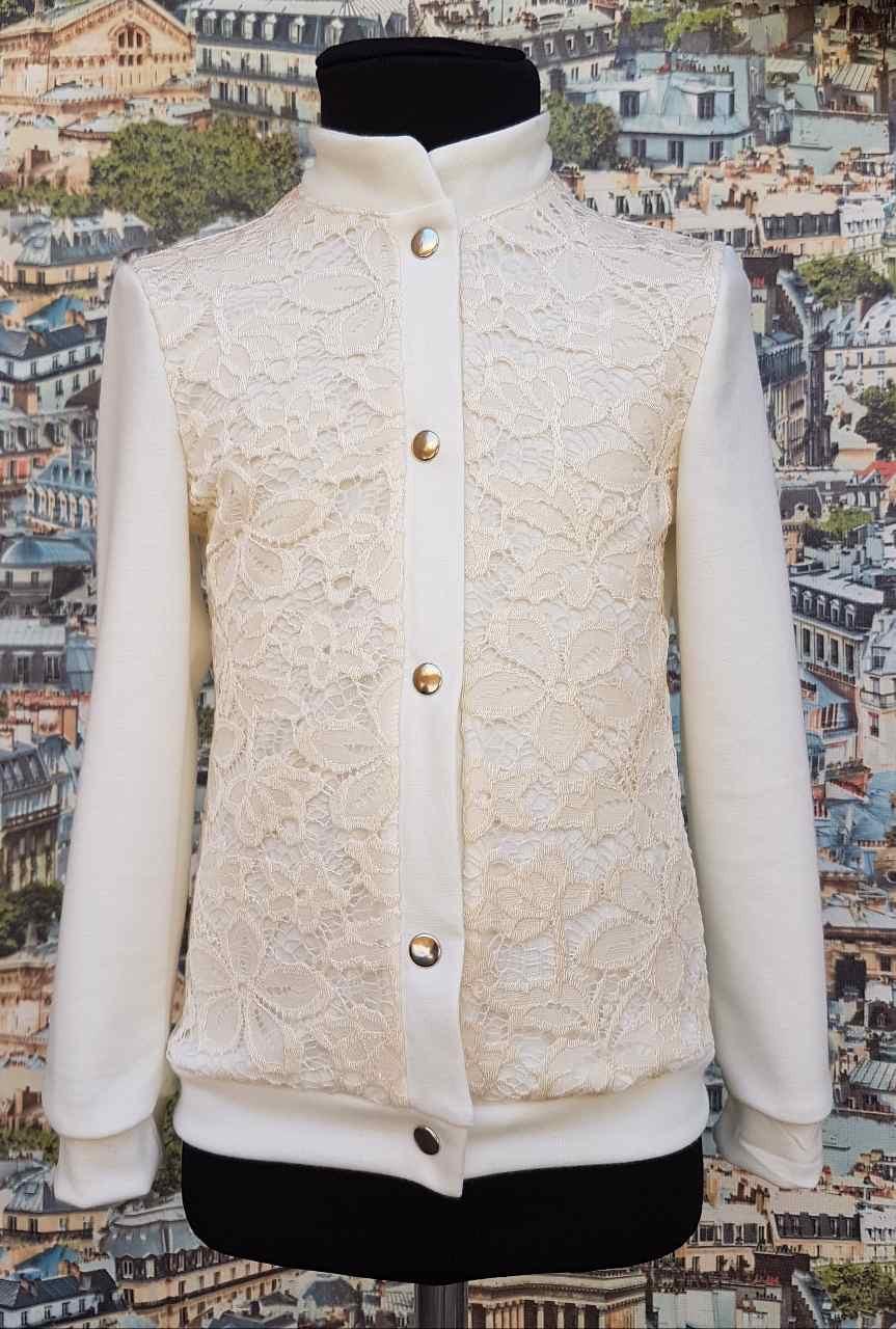 Детский школьный пиджак на кнопках  р.116-128, трикотаж молочный
