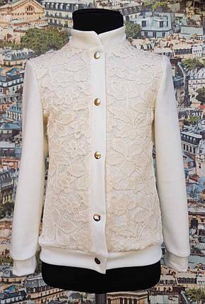 Детский школьный пиджак на кнопках  р.116-128, трикотаж молочный, фото 2
