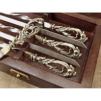 """Шампура """"Морские"""" - набор шампуров с бронзовыми ручками в кейсе из натурального дерева"""