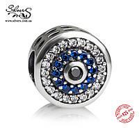 """Серебряная подвеска-шарм Пандора (Pandora) """"Синий глаз 1248"""" для браслета"""