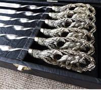 """Шампура ручной работы """"Медведи"""" в чехле из ткани (набор шампуров  6шт)"""
