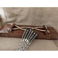"""Шампура """"Дикие звери"""" - набор шампуров с бронзовыми ручками в кейсе из натурального дерева"""