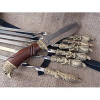 """Шампуры """"Ястреб"""" с охотничьим ножом (литьё из бронзы)"""