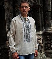 Мужская вышиванка (серый лен, ручная робота)