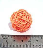 Шарик из ротанга 3 см. оранжевый