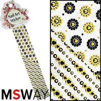 Наклейка-стикер Nail Art Sticker 1шт EP-082 черный золото цветы круги