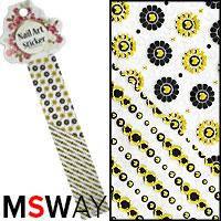 Наклейка-стикер Nail Art Sticker 1шт EP-082 черный золото цветы круги, фото 2