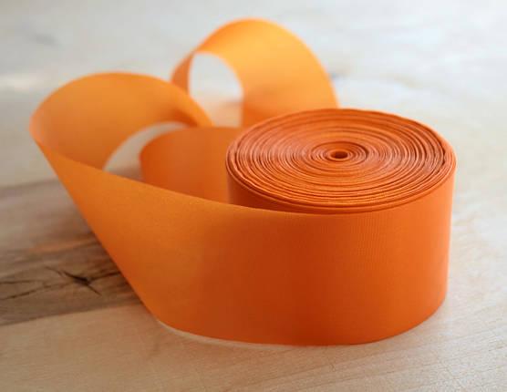 Лента шелковая оранжевая 5см, фото 2