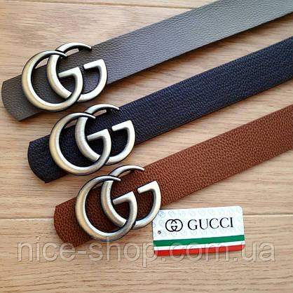 Ремень Gucci коричневый с золотой пряжкой, фото 2