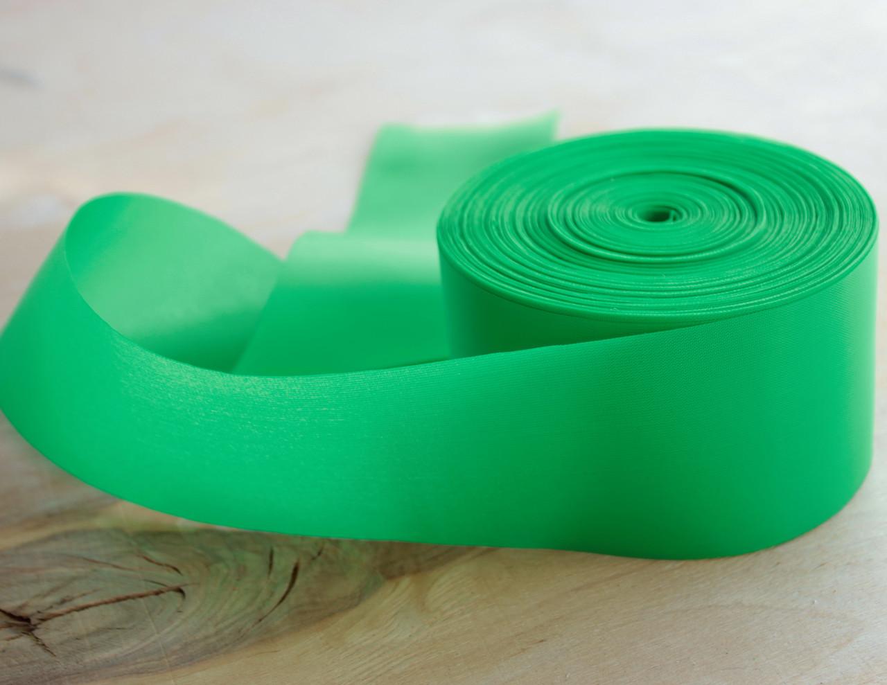 Лента шелковая зеленая 5см
