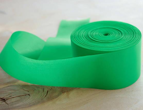 Лента шелковая зеленая 5см, фото 2