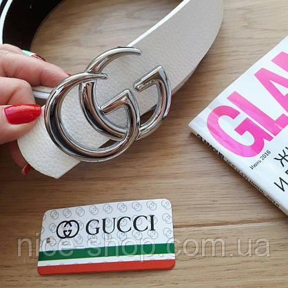 Ремень Gucci белый с серебряной пряжкой, фото 3