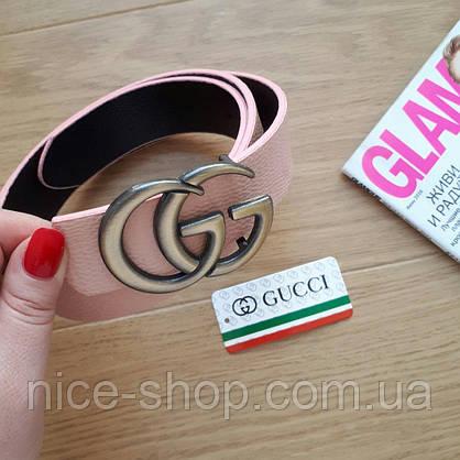 Ремень Gucci пудровый с золотой пряжкой, фото 3