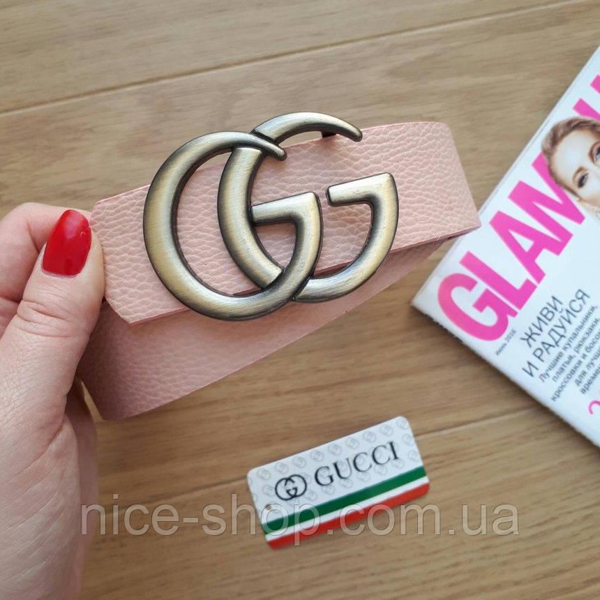 Ремень Gucci пудровый с золотой пряжкой, фото 2