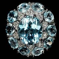 Серебряное кольцо 925 пробы с натуральным небесно-голубым топазом. Размер 16,5