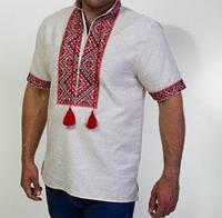 Рубашка вышитая на домотканном полотне с коротким рукавом, фото 1