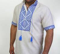 Вышитая мужская сорочка на лене с синем орнаментом , фото 1