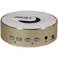 Портативный динамик BL AIDU Q1 золотистый AUX MP3 microSD кнопки навигации металлический корпус для смартфона