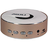 Динамик портативный BL AIDU Q1 розовое золото Bluetooth AUX MP3 microSD кнопки металлический для смартфона