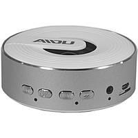 BL AIDU Q1 динамик портативный серебро MP3 Bluetooth microSD AUX кнопки металлический для смартфона android