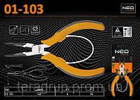 Плоскогубцы удлиненные изогнутые прецизионные (угол - 45º), L-140мм., NEO 01-103