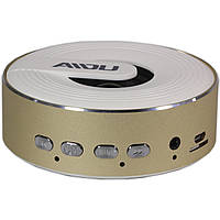 Беспроводная колонка BL AIDU Q1 золотистая с микрофоном bluetooth мини speaker USB 3.5 jack AUX micro SD card