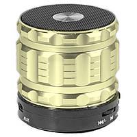 Беспроводная мини колонка Lesko BL S28 золотистая с микрофоном speaker портативная bluetooth USB AUX microSD