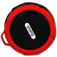 Водонепроницаемая мини колонка Lesko BL C6 красная портативная bluetooth с микрофоном USB microSD для музыки
