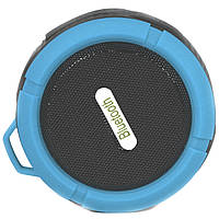 Беспроводная колонка Lesko BL C6 синяя с микрофоном водонепроницаемая bluetooth спикер USB microSD для музыки