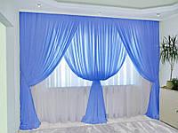 Шифонові штори синього кольору, фото 1