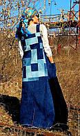 Женский джинсовый сарафан с вышивкой шелком. Женская одежда ручной работы, эксклюзивная женская одежда