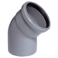 Отвод (колено) ПВХ Wavin с раструбом и уплотнительным кольцом для внутренней канализации серый 75х67º