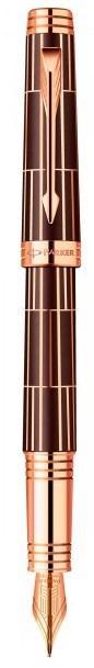 Перьевая ручка Parker PREMIER Luxury Black PT FP F шоколадная с позолотой, золотое перо 89 912K