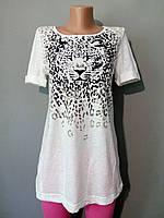 Футболка из хлопка женская с леопардом модная размер S 36 38