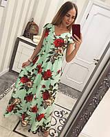 Платье длинное Розы. Платье в пол. Платья. Магазин одежда. Одежда интернет. Женская одежда.