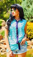 Шифоновая рубашка с принтом голубая