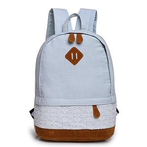 Джинсовый рюкзак с кружевом