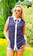 Шифоновая рубашка с принтом синяя