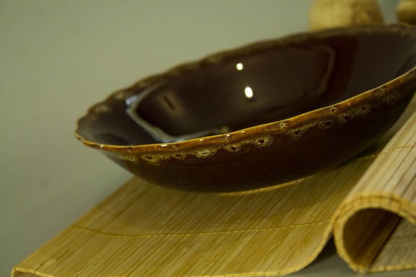Тарелка Солнышко, коричневая