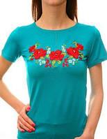Яркая женская  футболка со стрейча  с вышивкой