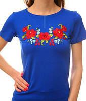 Женская футболка цвета электрик с вышивкой