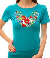 Бирюзовая футболка с вышитыми цветами, фото 1