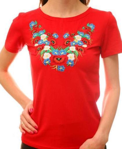 Женская футболка с вышивкой красного цвета