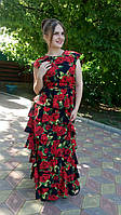 Платье в пол с рюшами яркое с розами пошив