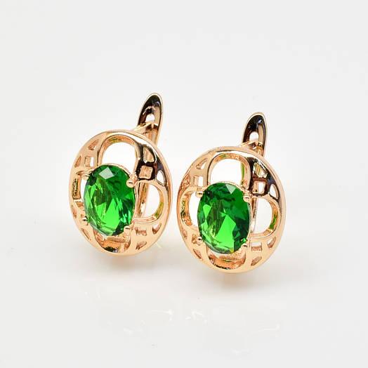 Серьги 54532 размер 15*12 мм, зеленые камни, позолота РО