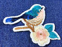 Нашивка Птичка на ветке синяя