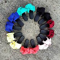 Шлепки с бантом из хлопка разные цвета