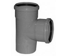 Тройник ПВХ Wavin с раструбами и уплотнительными кольцами для внутренней канализации серый 75х75/88º