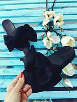 Шлепки с бантом из неопреновой сетки цвет- Черный, натуральная кож подкладка